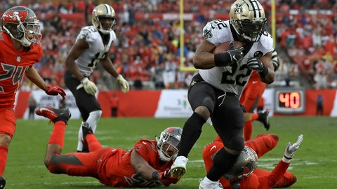 <p>               New Orleans Saints running back Mark Ingram (22) breaks through the Tampa Bay Buccaneers defense on a 17-yard touchdown run during the second half of an NFL football game Sunday, Dec. 9, 2018, in Tampa, Fla. (AP Photo/Mark LoMoglio)             </p>