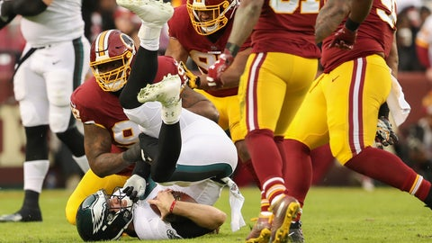 <p>               Washington Redskins defensive tackle Stacy McGee (92) sacks Philadelphia Eagles quarterback Nick Foles (9) during the first half of the NFL football game, Sunday, Dec. 30, 2018 in Landover, Md. (AP Photo/Andrew Harnik)             </p>