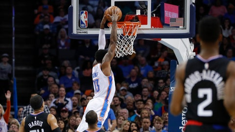 <p>               Oklahoma City Thunder forward Paul George (13) dunks against the Los Angeles Clippers during the first half of an NBA basketball game in Oklahoma City, Saturday, Dec. 15, 2018. (AP Photo/Alonzo Adams)             </p>