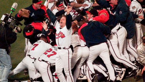 <p>               FILE - In this Oct. 28, 1995, file photo, the Atlanta Braves celebrate after Game 6 of the baseball World Series in Atlanta. The Braves defeated the Cleveland Indians 1-0 to win the series. When Atlanta United reached Saturday's MLS Cup final, the soccer team moved to the cusp of a truly rare accomplishment. There hasn't been a big league champion in this city since the Braves' title. (AP Photo/Ed Reinke, File)             </p>