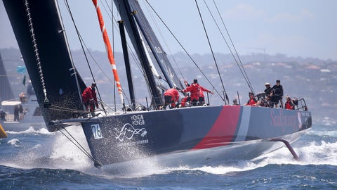 <p>               The Hong Kong maxi yacht Scallywag reaches the heads during the start of the Sydney Hobart yacht race in Sydney, Wednesday, Dec. 26, 2018. The 630-nautical mile race has 85 yachts starting in the race to the island state of Tasmania. (AP Photo/Rick Rycroft)             </p>