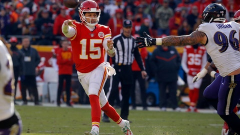 <p>               Kansas City Chiefs quarterback Patrick Mahomes (15) throws on the run past Baltimore Ravens defensive end Brent Urban (96) during the first half of an NFL football game in Kansas City, Mo., Sunday, Dec. 9, 2018. (AP Photo/Charlie Riedel)             </p>