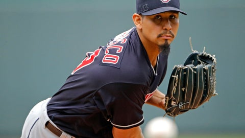 <p>               FILE - In this Sept. 30, 2018, file photo, Cleveland Indians starting pitcher Carlos Carrasco throws during the first inning of a baseball game against the Kansas City Royals in Kansas City, Mo. The Indians have signed Carrasco to a new, four-year contract through the 2022 season. Carrasco's deal includes a club option for 2023. Financial terms of the contract were not immediately available. (AP Photo/Charlie Riedel, File)             </p>