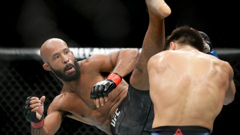 <p>               FILE - In this Saturday, Aug. 4, 2018 file photo, Henry Cejudo, right, ducks a kick from Demetrious Johnson during their UFC flyweight title mixed martial arts bout at UFC 227 in Los Angeles. Demetrious Johnson and Eddie Alvarez will make their One Championship debuts at the mixed martial arts promotion's first show in Japan on March 31. (AP Photo/Chris Carlson, File)             </p>