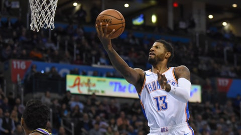 <p>               Oklahoma City Thunder forward Paul George goes in for a shot in the first half of an NBA basketball game against the Utah Jazz in Oklahoma City, Monday, Dec. 10, 2018. (AP Photo/Kyle Phillips)             </p>