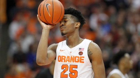 <p>               Syracuse's Tyus Battle shows his frustration late in the second half of an NCAA college basketball game against Buffalo in Syracuse, N.Y., Tuesday, Dec. 18, 2018. Buffalo won 71-59. (AP Photo/Nick Lisi)             </p>