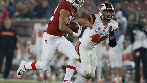 <p>               FILE - In this  Saturday, Nov. 10, 2018 file photo, Stanford running back Cameron Scarlett (22) rushes for a touchdown against Oregon State during an NCAA college football game in Stanford, Calif. Pittsburgh plays Stanford in the Sun Bowl Monday, Dec. 31, 2018. (AP Photo/Tony Avelar)             </p>