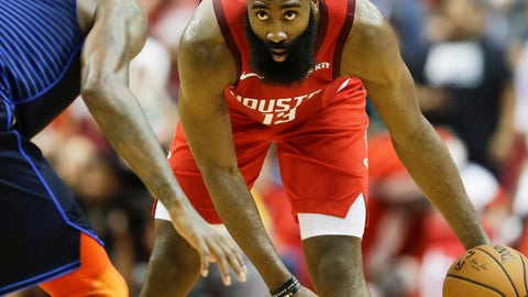 <p>               Houston Rockets guard James Harden, right, dribbles as Oklahoma City Thunder forward Paul George defends during the second half of an NBA basketball game, Tuesday, Dec. 25, 2018, in Houston. Houston won 113-109. (AP Photo/Eric Christian Smith)             </p>
