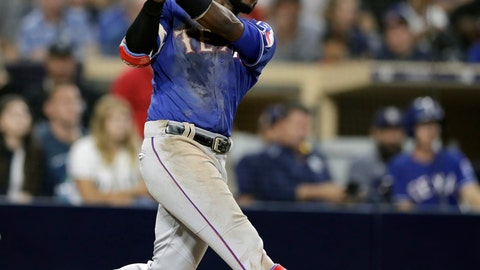 <p>               FILE - In this Sept. 14, 2018, file photo, Texas Rangers' Jurickson Profar watches his two-run home run against the San Diego Padres during the seventh inning of a baseball game in San Diego. Texas traded infielder Jurickson Profar to the Oakland Athletics on Friday, Dec. 21, 2018, in a three-team team that included Tampa Bay and netted the Rangers four prospects. (AP Photo/Gregory Bull, File)             </p>