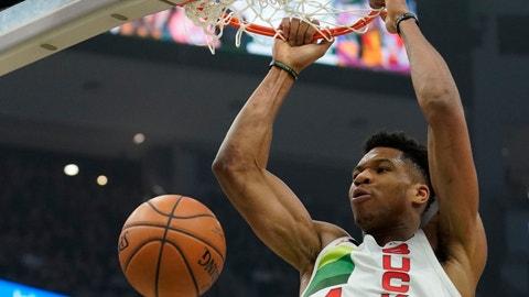 <p>               Milwaukee Bucks' Giannis Antetokounmpo dunks during the first half of an NBA basketball game against the Milwaukee Bucks Saturday, Dec. 29, 2018, in Milwaukee. (AP Photo/Morry Gash)             </p>