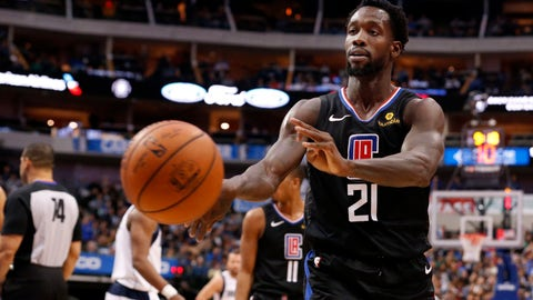 <p>               Los Angeles Clippers guard Patrick Beverley (21) throws a ball at a fan during the second half of an NBA basketball game against the Dallas Mavericks in Dallas, Sunday, Dec. 2, 2018. Dallas won 114-110. Beverley was ejected from the game. (AP Photo/Michael Ainsworth)             </p>
