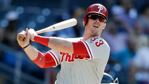 <p>               FILE - In this Sunday, Aug. 12, 2018, file photo, the Philadelphia Phillies' Justin Bour watches his single hit during the ninth inning of a baseball game against the San Diego Padres, in San Diego. A person with direct knowledge of the negotiations said Wednesday, Dec. 12, 2018, free agent first baseman and left-handed hitter Justin Bour has reached agreement with the Los Angeles Angels. (AP Photo/Gregory Bull, File)             </p>