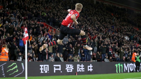 <p>               Southampton's Stuart Armstrong celebrates scoring his side's first goal of the game during their English Premier League soccer match at St Mary's Stadium in Southampton, Saturday Dec. 1, 2018. (Andrew Matthews/PA via AP)             </p>