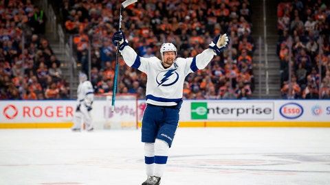 <p>               Tampa Bay Lightning defenseman Anton Stralman celebrates a goal against the Edmonton Oilers during the third period of an NHL hockey game Saturday, Dec. 22, 2018, in Edmonton, Alberta. (Codie McLachlan/The Canadian Press via AP)             </p>
