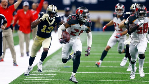 <p>               FILE - In this Sept. 9, 2018, file photo, Tampa Bay Buccaneers defensive back Justin Evans (21) returns a fumble for touchdown as New Orleans Saints wide receiver Michael Thomas (13) pursues in the first half of an NFL football game in New Orleans. The Saints defense is vastly different from the one that yielded 48 points to Tampa Bay in the opener. These teams play again Sunday, with New Orleans having gone four straight games of allowing 17 or fewer points. (AP Photo/Butch Dill, File)             </p>