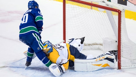 <p>               Vancouver Canucks' Elias Pettersson, left, of Sweden, scores on a penalty shot against Nashville Predators goalie Pekka Rinne, of Finland, during the second period of an NHL hockey game Thursday, Dec. 6, 2018, in Vancouver, British Columbia. (Darry Dyck/The Canadian Press via AP)             </p>