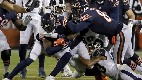 <p>               Chicago Bears running back Jordan Howard (24) is tackled by Los Angeles Rams linebacker Cory Littleton (58) and safety John Johnson (43) during the first half of an NFL football game Sunday, Dec. 9, 2018, in Chicago. (AP Photo/Nam Y. Huh)             </p>
