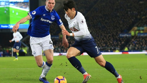 <p>               Everton's Michael Keane, left, and Tottenham's Son Heung-min vie for the ball during the English Premier League soccer match between Everton and Tottenham at Goodison Park Stadium, in Liverpool, England, Sunday, Dec. 23, 2018. (AP Photo/Jon Super)             </p>
