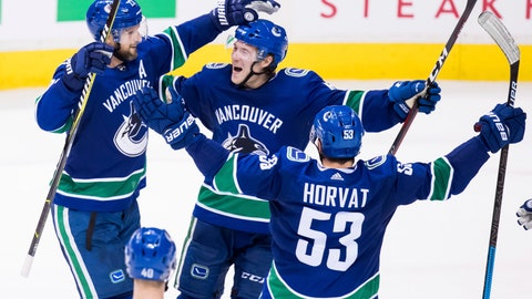 <p>               Vancouver Canucks' Alexander Edler, of Sweden, from left to right, Brock Boeser and Bo Horvat celebrate Edler's goal during the second period of an NHL hockey game, Sunday, Dec. 16, 2018, in Vancouver, British Columbia. (Darryl Dyck/The Canadian Press via AP)             </p>