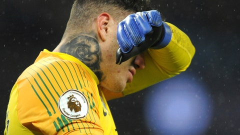 <p>               Manchester City's goalkeeper Ederson Moraes reacts during the English Premier League soccer match between Manchester City and Crystal Palace at Etihad stadium in Manchester, England, Saturday, Dec. 22, 2018. (AP Photo/Rui Vieira)             </p>