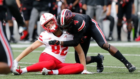 <p>               FILE - In this Nov. 3, 2018, file photo, Ohio State defensive back Jordan Fuller tackles Nebraska tight end Kurt Rafdal during the first half of an NCAA college football game Saturday, in Columbus, Ohio. Fuller was ejected from the game for a targeting penalty on the play. The NCAA says the number of enforced targeting penalties in the Football Bowl Subdivision this regular season was the same as in 2017. (AP Photo/Jay LaPrete, File)             </p>