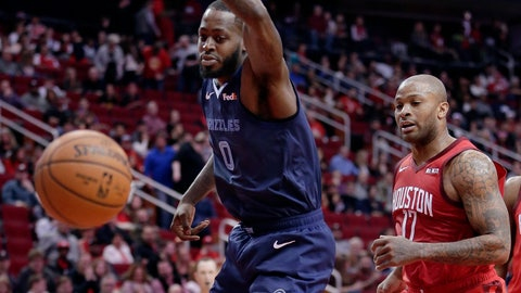 <p>               Memphis Grizzlies forward JaMychal Green (0) loses the ball on a drive to the basket in front of Houston Rockets forward PJ Tucker (17) during the first half of an NBA basketball game Monday, Dec. 31, 2018, in Houston. (AP Photo/Michael Wyke)             </p>