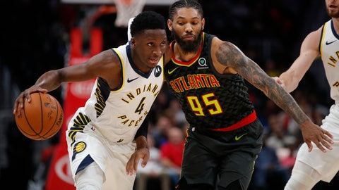 <p>               Indiana Pacers guard Victor Oladipo (4) drives to the basket as Atlanta Hawks forward DeAndre' Bembry (95) defends during the second half of an NBA basketball game Wednesday, Dec. 26, 2018, in Atlanta. (AP Photo/Todd Kirkland)             </p>