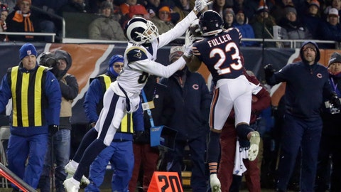 <p>               Chicago Bears cornerback Kyle Fuller (23) intercepts a pass intended for Los Angeles Rams wide receiver Josh Reynolds (83) during the second half of an NFL football game Sunday, Dec. 9, 2018, in Chicago. (AP Photo/David Banks)             </p>