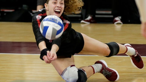 <p>               Stanford's Morgan Hentz dives for a ball against BYU in the third set of a semifinal match of the NCAA Div I Women's Volleyball Championships Thursday, Dec. 13, 2018, in Minneapolis. (AP Photo/Andy Clayton-King)             </p>