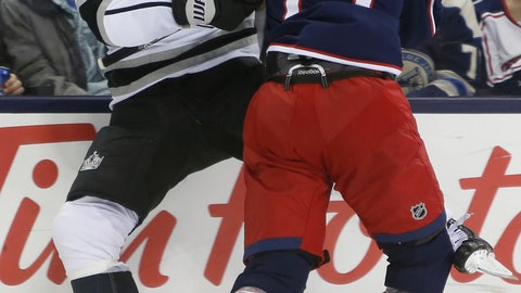 <p>               Columbus Blue Jackets' Ryan Murray, right, checks Los Angeles Kings' Dustin Brown during the first period of an NHL hockey game Thursday, Dec. 13, 2018, in Columbus, Ohio. (AP Photo/Jay LaPrete)             </p>