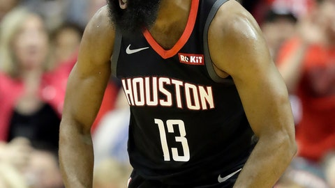 <p>               Houston Rockets' James Harden (13) reacts after dunking the ball against the Los Angeles Lakers during the first half of an NBA basketball game Thursday, Dec. 13, 2018, in Houston. (AP Photo/David J. Phillip)             </p>