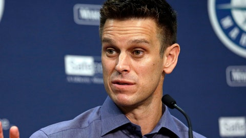 <p>               FILE - In this Oct. 3, 2017, file photo, Seattle Mariners general manager Jerry Dipoto speaks with reporters during a baseball news conference in Seattle. Dipoto was taken to a hospital after he fell ill during the winter meetings in Las Vegas. (AP Photo/Elaine Thompson, File)             </p>