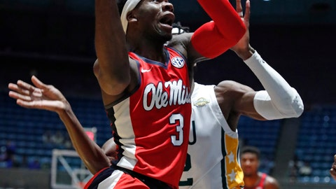 <p>               Mississippi guard Terence Davis (3) attempts a layup during the first half of an NCAA college basketball game against Southeastern Louisiana in Jackson, Miss., Wednesday, Dec. 12, 2018. (AP Photo/Rogelio V. Solis)             </p>