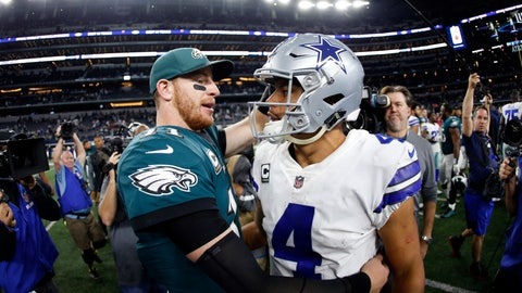 <p>               FILE - In this Nov. 19, 2017, file photo, Philadelphia Eagles' Carson Wentz, left, and Dallas Cowboys' Dak Prescott, right, greet each other after their NFL football game, in Arlington, Texas. Prescott and the Cowboys saved their season with a win in Philadelphia a month ago. Now Carson Wentz and the defending champion Eagles are trying to do the same in Texas against first-place Dallas on Sunday. (AP Photo/Ron Jenkins, File)             </p>
