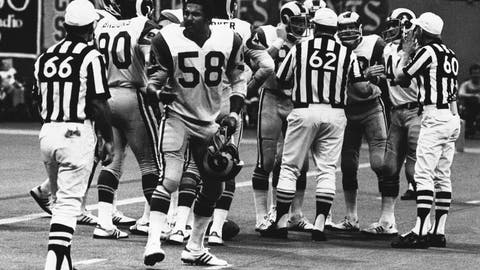 <p>               FILE - In this Oct. 30, 1977, file photo, Los Angeles Rams linebacker Isiah Robertson (58) complains about a call during an NFL football game against the New Orleans Saints in New Orleans. Former two-time All-Pro linebacker Robertson was killed when the limousine he was driving skidded on a rain-slicked curve on a dark, rural East Texas highway and was hit by two other vehicles. The Texas Department of Public Safety reports the crash happened Thursday, Dec. 6, 2018. (AP Photo/File)             </p>