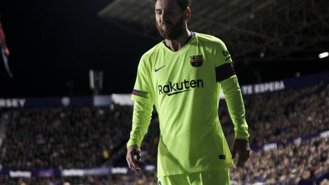 <p>               FC Barcelona's forward Lionel Messi during their La Liga soccer match between Levante UD and FC Barcelona at Ciutat de Valencia stadium in Valencia, Spain, Sunday, Dec. 16, 2018.(AP Photo/Jose Miguel Fernandez de Velasco)             </p>
