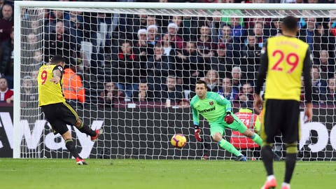 <p>               Watford's Troy Deeney scores his side's first goal of the game from the penalty spot during their English Premier League soccer match against West Ham at London Stadium in London, Saturday, Dec. 22, 2018. (Chris Radburn/PA via AP)             </p>