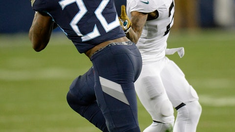 <p>               Tennessee Titans running back Derrick Henry (22) runs against Jacksonville Jaguars cornerback A.J. Bouye (21) during the first half of an NFL football game, Thursday, Dec. 6, 2018, in Nashville, Tenn. Henry scored a touchdown on the 99-yard run. (AP Photo/Mark Zaleski)             </p>