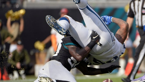 <p>               Indianapolis Colts tight end Eric Ebron, right, fumbles as he is hit by Jacksonville Jaguars outside linebacker Telvin Smith, left, during the first half of an NFL football game, Sunday, Dec. 2, 2018, in Jacksonville, Fla. (AP Photo/Phelan M. Ebenhack)             </p>