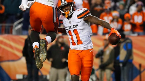 <p>               Cleveland Browns wide receiver Antonio Callaway (11) celebrates his touchdown with teammate David Njoku (85) during the second half of an NFL football game against the Denver Broncos, Saturday, Dec. 15, 2018, in Denver. (AP Photo/Jack Dempsey)             </p>