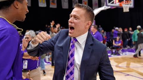 <p>               Furman head coach Bob Richey, right, celebrates his team's win with fans after an NCAA college basketball game against North Carolina Wilmington, Saturday, Dec. 15, 2018, in Greenville, S.C. (AP Photo/Richard Shiro)             </p>