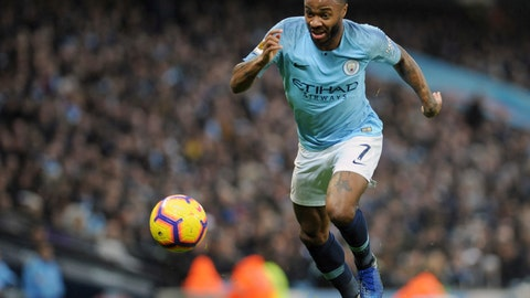 <p>               Manchester City's Raheem Sterling controls the ball during the English Premier League soccer match between Manchester City and Bournemouth at Etihad stadium in Manchester, England, Saturday, Dec. 1, 2018. (AP Photo/Rui Vieira)             </p>