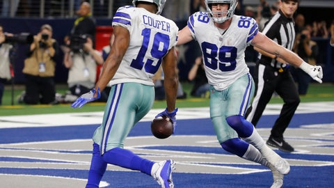 <p>               Dallas Cowboys wide receiver Amari Cooper (19) scores on a 15-yard catch against the Philadelphia Eagles in overtime of an NFL football game, in Arlington, Texas, Sunday, Dec. 9, 2018. (AP Photo/Michael Ainsworth)             </p>