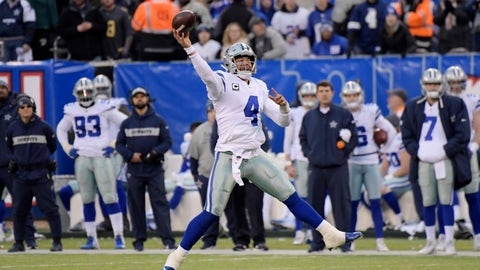 <p>               Dallas Cowboys quarterback Dak Prescott throws the ball during the second half of an NFL football game against the New York Giants, Sunday, Dec. 30, 2018, in East Rutherford, N.J. The Cowboys defeated the Giants 36-35. (AP Photo/Bill Kostroun)             </p>