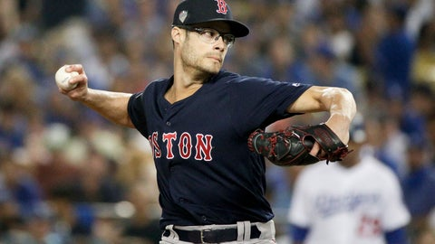 <p>               FILE - In this Friday, Oct. 26, 2018 file photo,Boston Red Sox relief pitcher Joe Kelly throws against the Los Angeles Dodgers during the sixth inning in Game 3 of the World Series baseball game in Los Angeles. Reliever Joe Kelly agreed Thursday, Dec. 13, 2018 to a $25 million, three-year contract with the Los Angeles Dodgers, a person familiar with the negotiations told The Associated Press. (AP Photo/Jae C. Hong, File)             </p>
