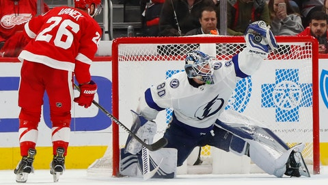 <p>               Tampa Bay Lightning goaltender Edward Pasquale (80) stops a Detroit Red Wings' Thomas Vanek (26) shot during a shootout in an NHL hockey game Tuesday, Dec. 4, 2018, in Detroit. (AP Photo/Paul Sancya)             </p>