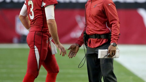 <p>               Arizona Cardinals head coach Steve Wilks greets quarterback Josh Rosen (3) during the first half of an NFL football game against the Los Angeles Rams, Sunday, Dec. 23, 2018, in Glendale, Ariz. (AP Photo/Ross D. Franklin)             </p>