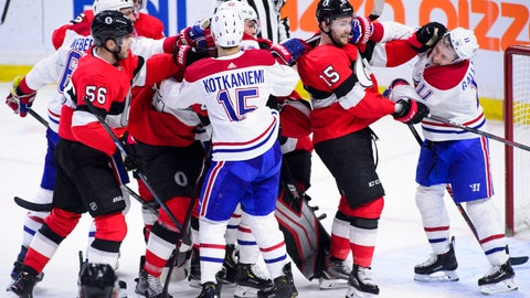 <p>               Tempers flare as the Ottawa Senators take on the Montreal Canadiens during third-period NHL hockey game action in Ottawa, Ontario, Thursday, Dec. 6, 2018. (Sean Kilpatrick/The Canadian Press via AP)             </p>
