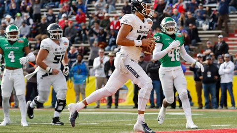 <p>               Utah State quarterback Jordan Love (10) scores a touchdown against North Texas during the first half of the New Mexico Bowl NCAA college football game in Albuquerque, N.M., Saturday, Dec. 15, 2018. (AP Photo/Andres Leighton)             </p>