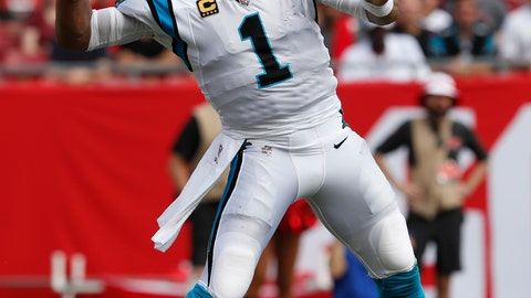 <p>               FILE - In this Dec. 2, 2018, file photo, Carolina Panthers quarterback Cam Newton (1) throws a pass against the Tampa Bay Buccaneers during the first half of an NFL football game, in Tampa, Fla. The Panthers play the Cleveland Browns in Cleveland on Sunday. (AP Photo/Mark LoMoglio, File)             </p>